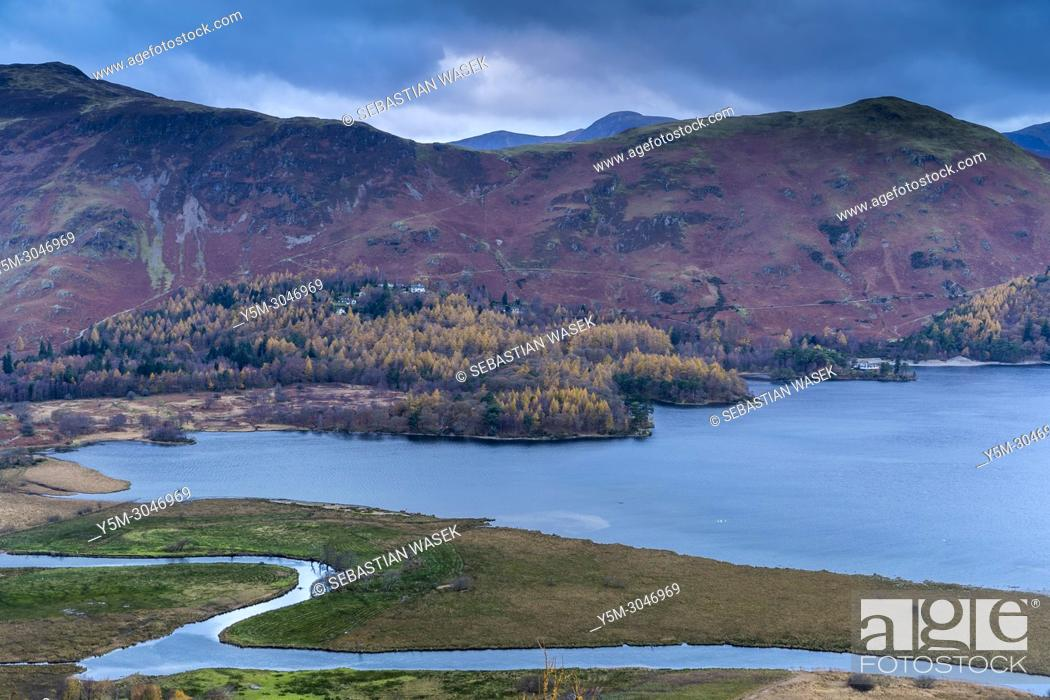 Stock Photo: Derwentwater viewed from Surprise View, Lake District National Park, Cumbria, England, United KIngdom, Europe.