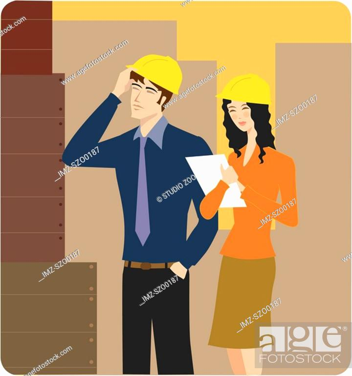 Stock Photo: Man and woman wearing hardhats inspecting a building site.