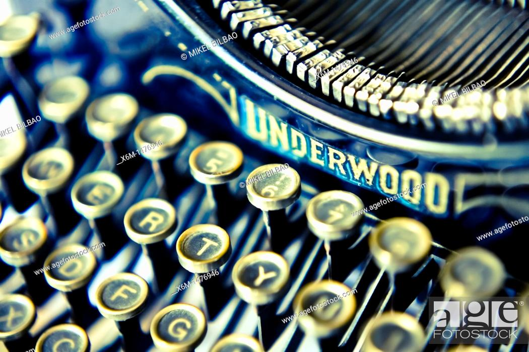 Stock Photo: old typewriter detail.