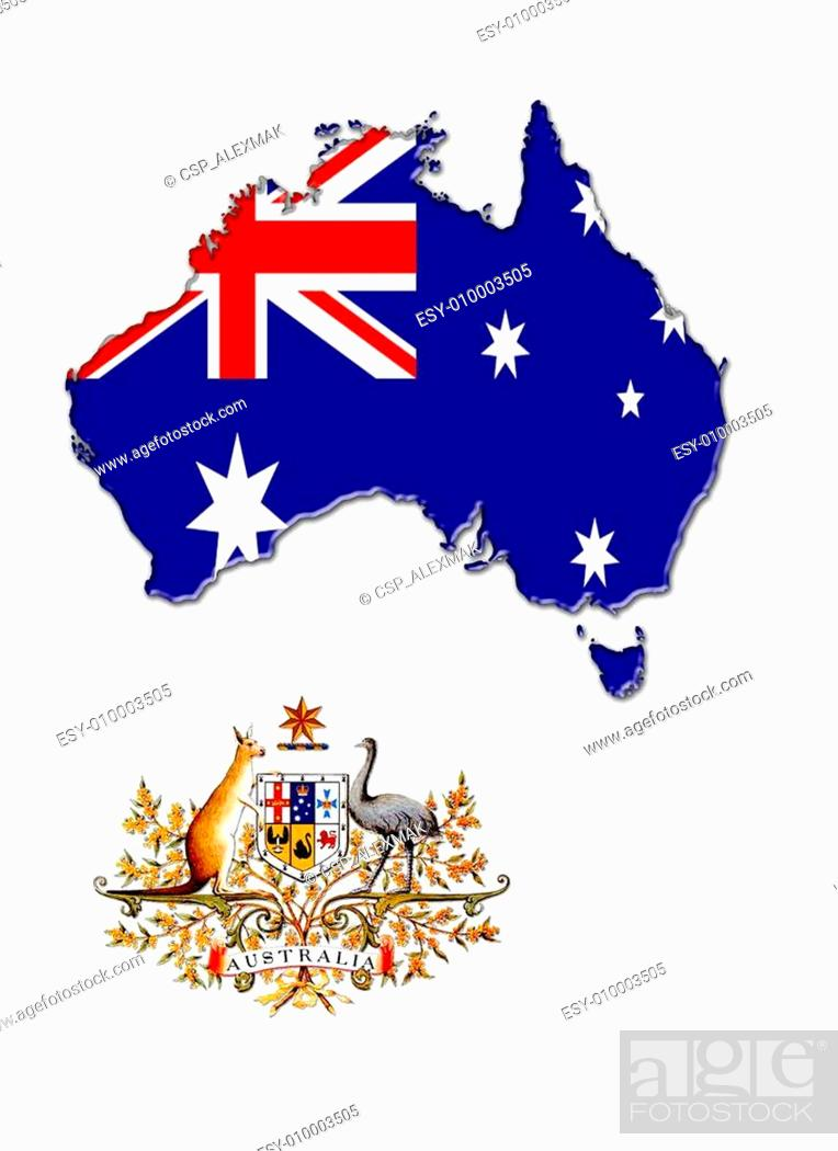 Stock Photo: The map, flag and the arms of Australia.