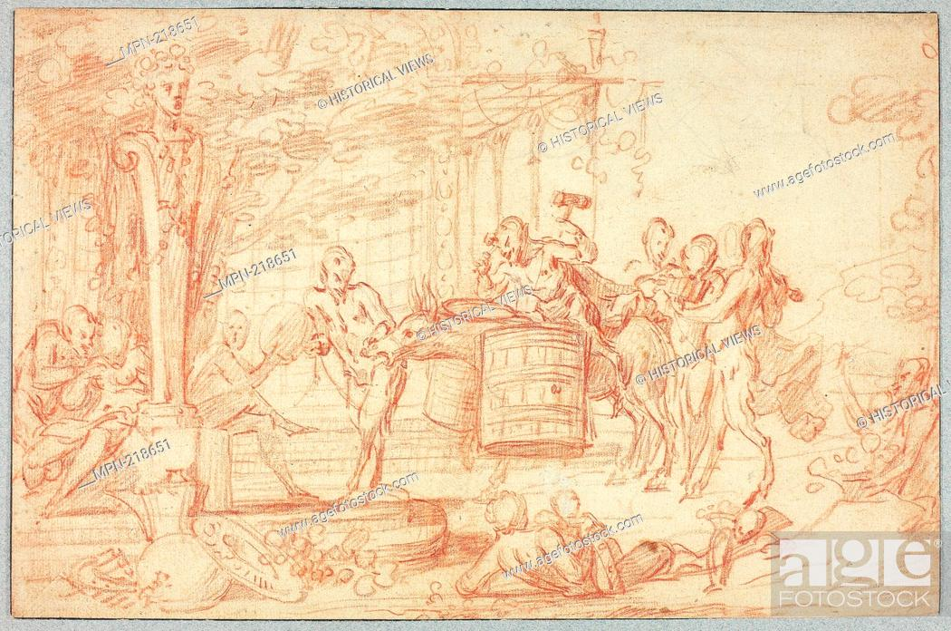 Stock Photo: Bacchanal - Attributed to Claude Gillot French, 1673-1722 - Artist: Claude Gillot, Origin: France, Date: 1693-1722, Medium: Red chalk.