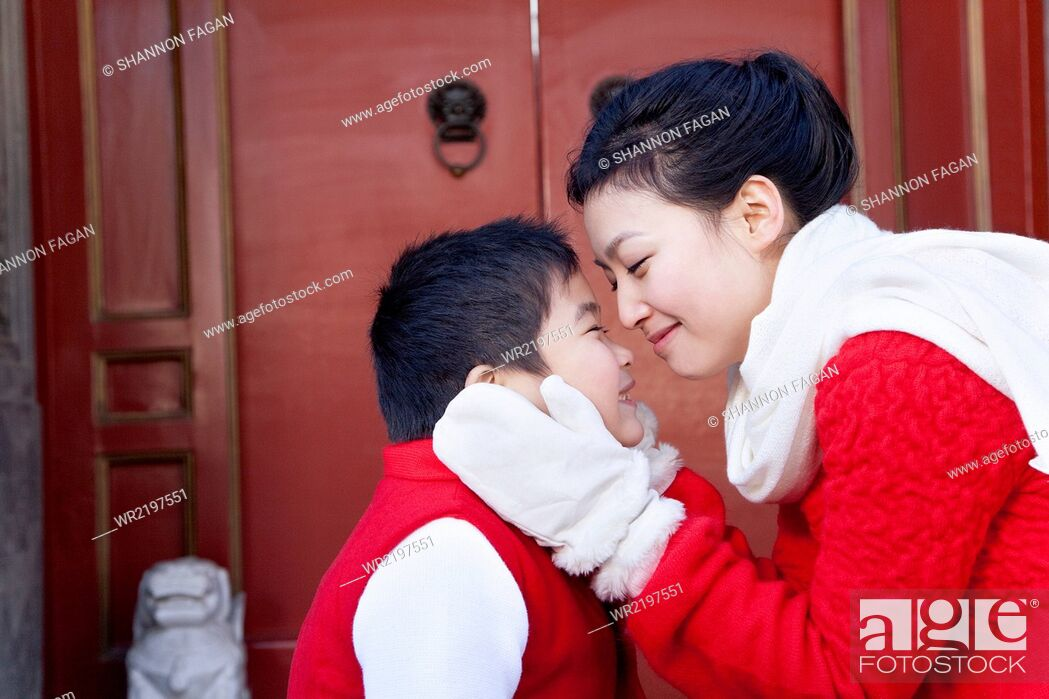 Stock Photo: Tender moment between mother and son.