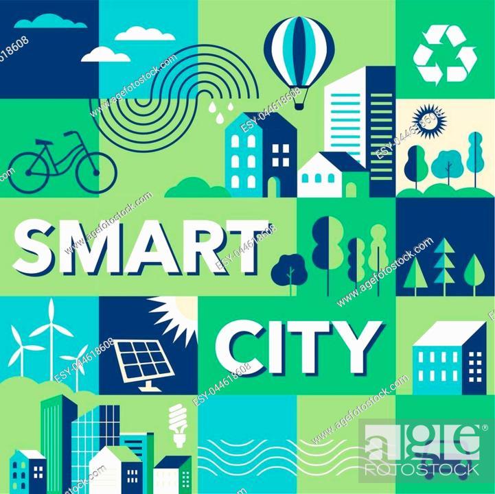 Stock Vector: Green city, smart city concept, modern design. Geometric urban landscape, banner and poster.