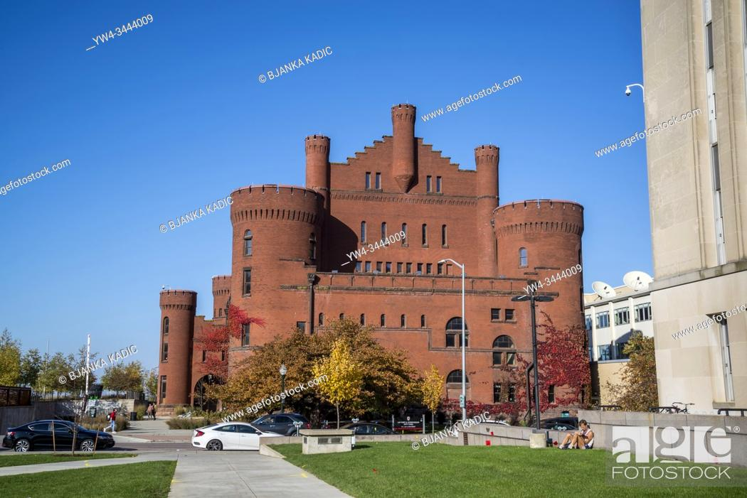 """Stock Photo: University of Wisconsin Armory and Gymnasium, also called """"""""the Red Gym"""""""" or â. œBowserâ. . s Castle, â. . , designed in the Romanesque revival style, Madison."""