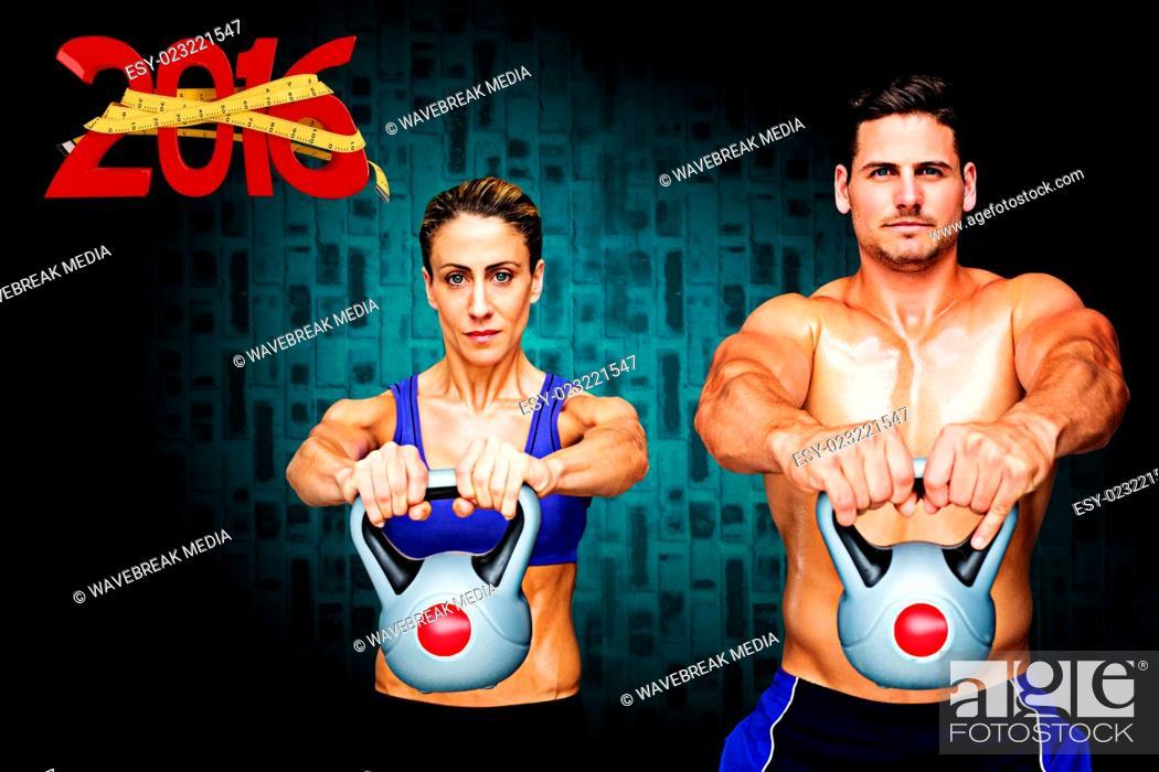 Stock Photo: Composite image of bodybuilding couple.