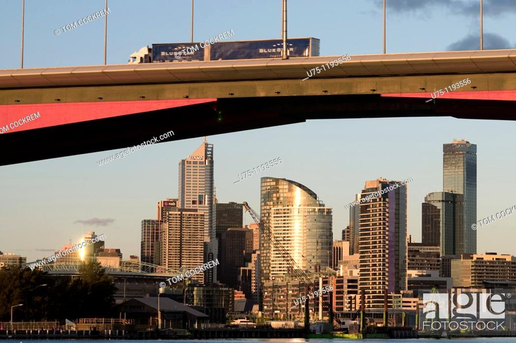 Stock Photo: Melbourne skyline and Bolte Bridge, Victoria, Australia.