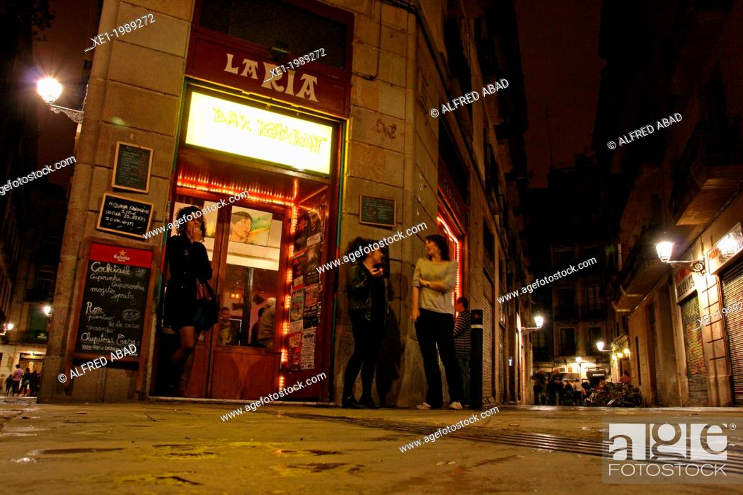 Stock Photo: bar, nocturnal, Gothic Quarter, Barcelona, Catalonia, Spain.
