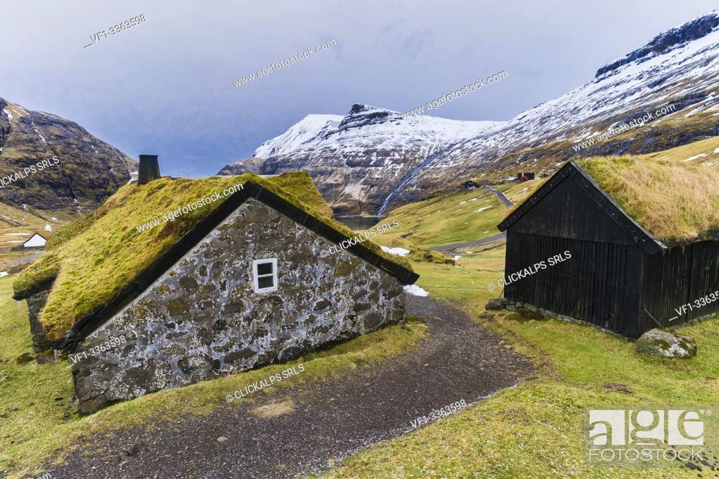 Stock Photo: Iconic houses with grass roof, Saksun, Streymoy island, Faroe Islands, Denmark.