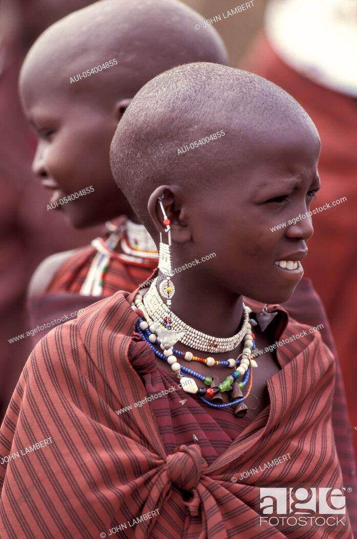 Stock Photo: africa, tanzania, masai young girls.