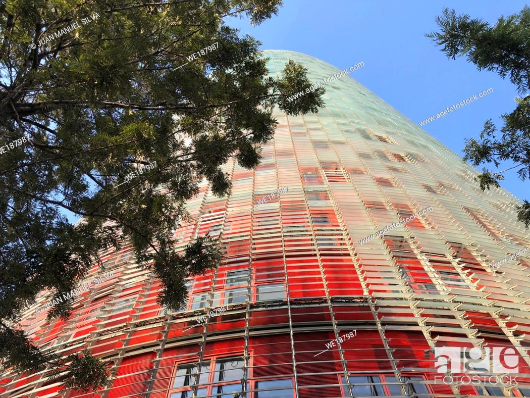 Stock Photo: Low angle view of the Torre Glòries in the Poblenou neighbourhood, Barcelona, Spain.