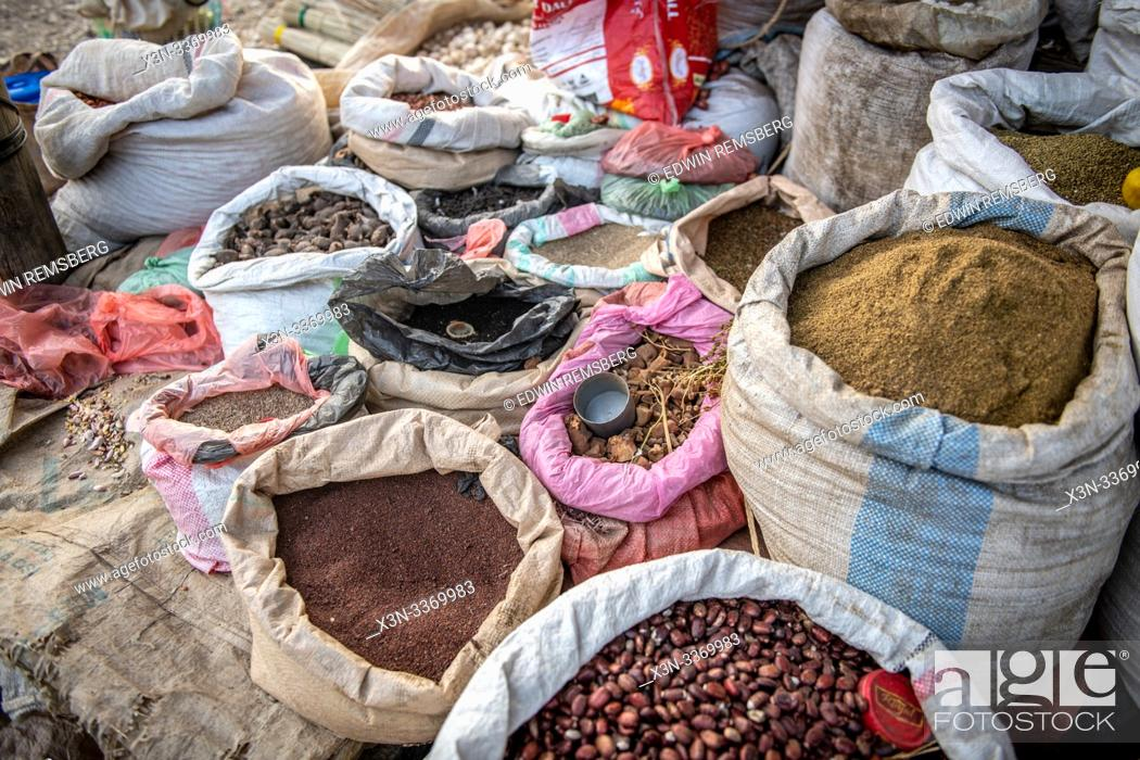 Stock Photo: Assorted bags filled with produce for sale, Mekele, Ethiopia.