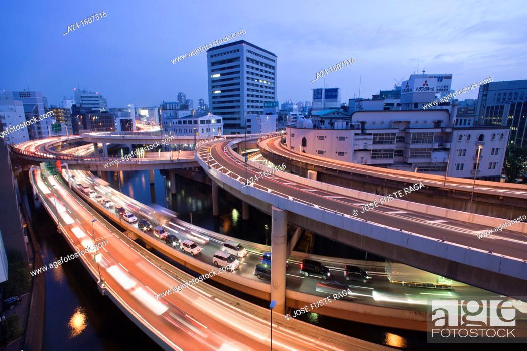 Stock Photo: Japan-Tokyo City-Nihonbashi-Shuto Expressway Crossing.