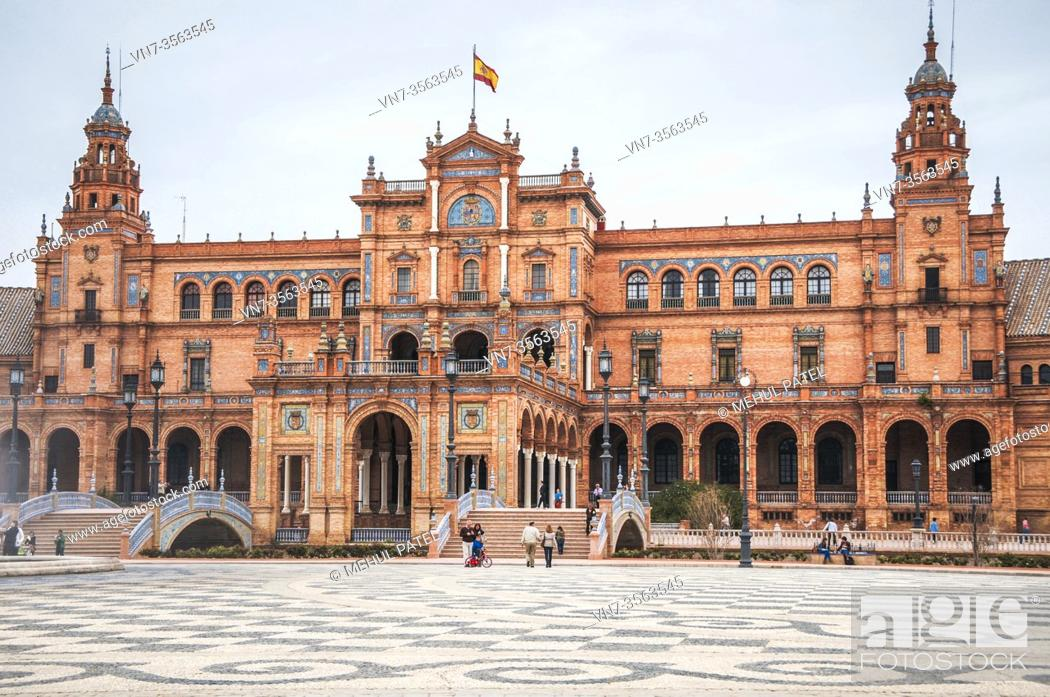 Stock Photo: Historical landmark square in Seville, Plaza de España, Andalucia, Spain. Plaza de España's main attractions include its semicircular lake.