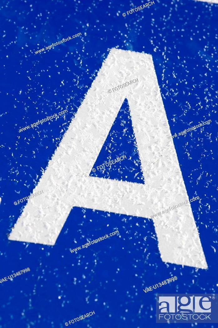 Stock Photo: Blue, Letter A, Close-Up, Capital Letter, Alphabet.