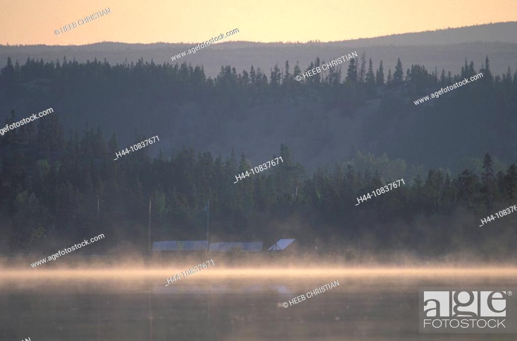 Stock Photo: Canada, North America, America, Morning mist, Clearwater Lake, British Columbia, landscape, foggy, fog, misty, conifer.