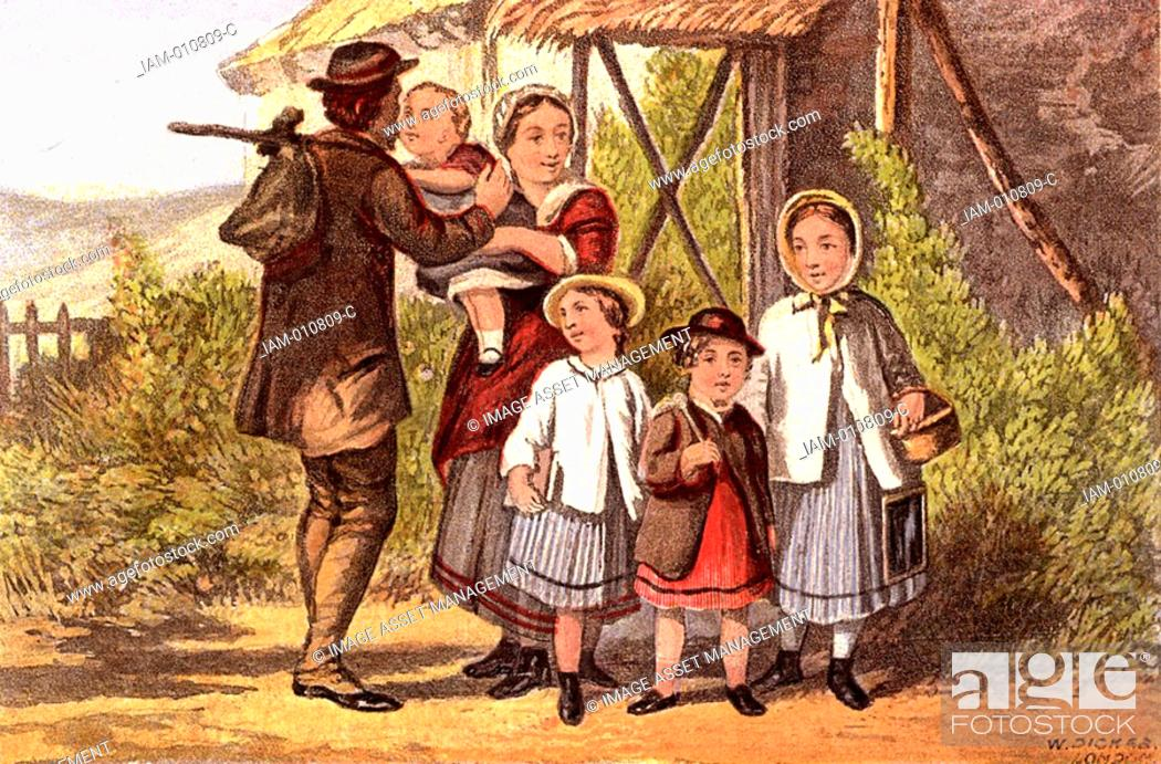 Stock Photo: Monday Morning: father going to work with food tied up in a cloth, saying goodbye to his family  The three older children leave for school  The girl on the.