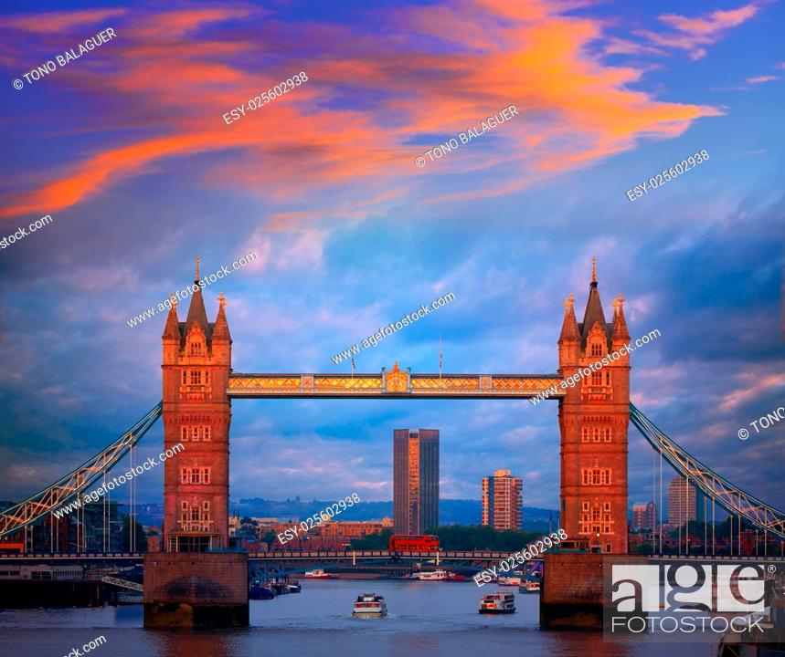 Stock Photo: London Tower Bridge sunset on Thames river in England.