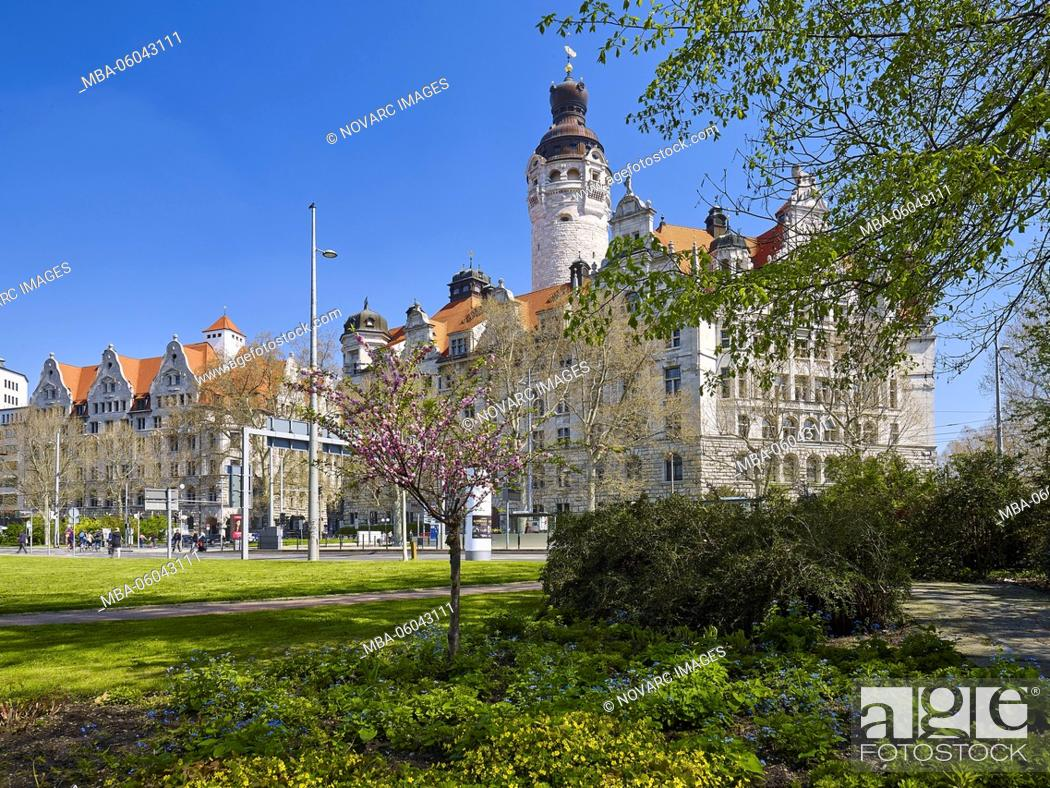 Stock Photo: New town hall in Leipzig, Saxony, Germany.