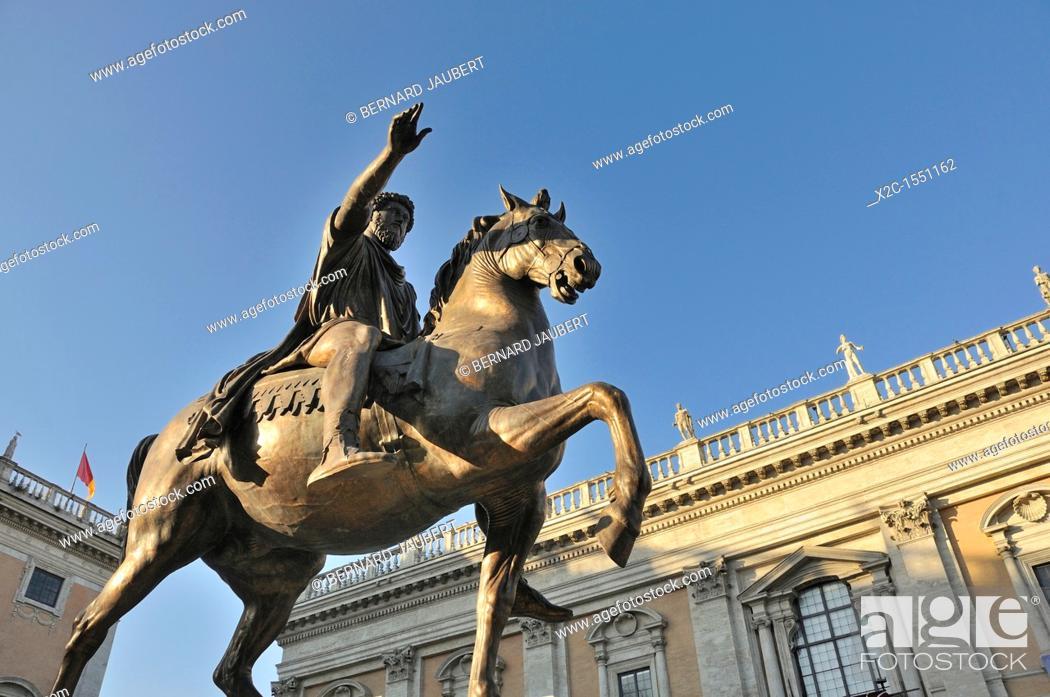 Stock Photo: Equestrain statue of Emperor Marcus Aurelius in Piazza del Campidoglio, Capitoline Hill, Rome, Italy, Europe.