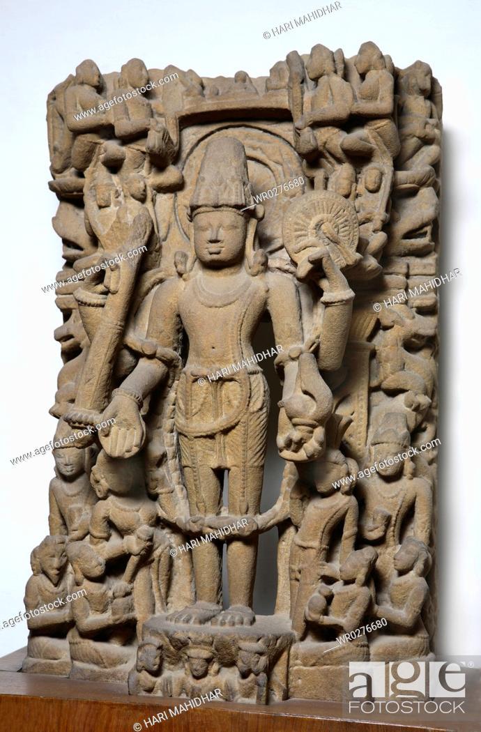 Stock Photo: Vishnu 10th century A D , Vaishnav cult , Kalchurian period found at Mankedi district Jabalpur , Madhya Pradesh , India.
