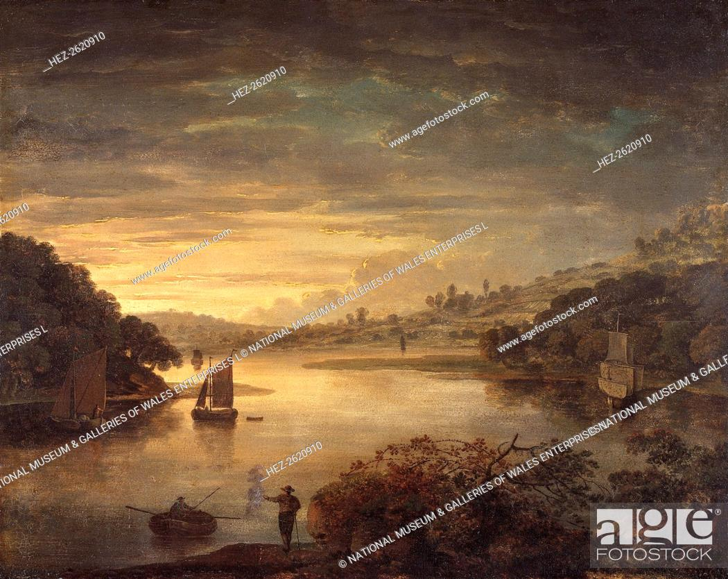 Stock Photo: 'A view on the river Neath in Glamorganshire', 1740-1760. Artist: Anthony Devis.