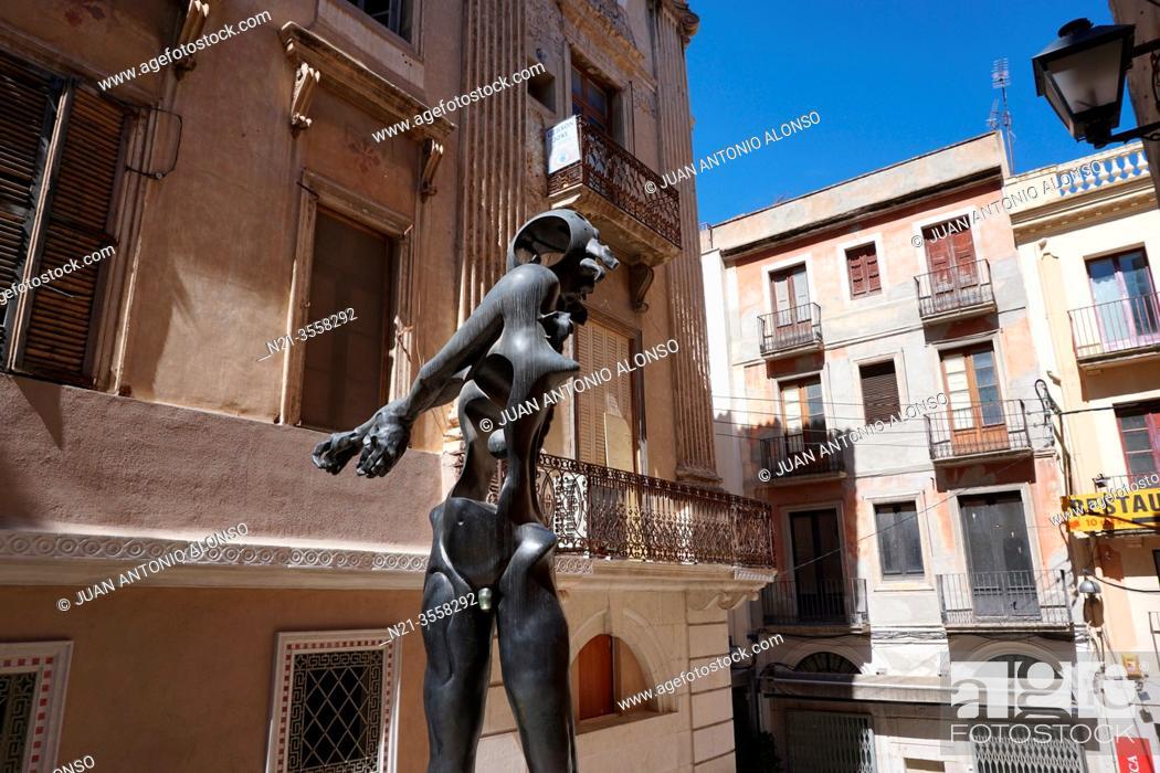 "Stock Photo: Salvador Dali's """"Homenaje a Newton"""". City of Figueres, Girona, Catalonia, Spain, Europe."