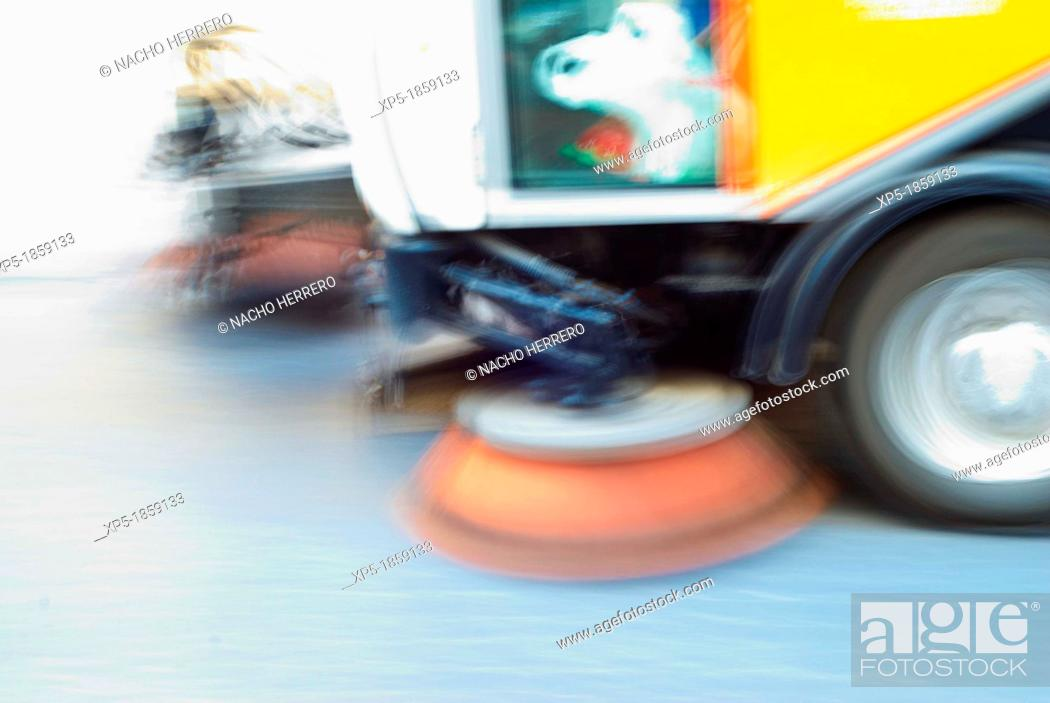 Stock Photo: Sweeper truck.