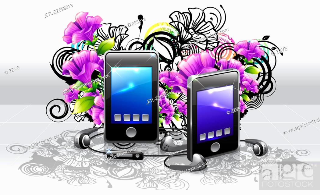 Stock Photo: Mp3 player and headphone with flora design.