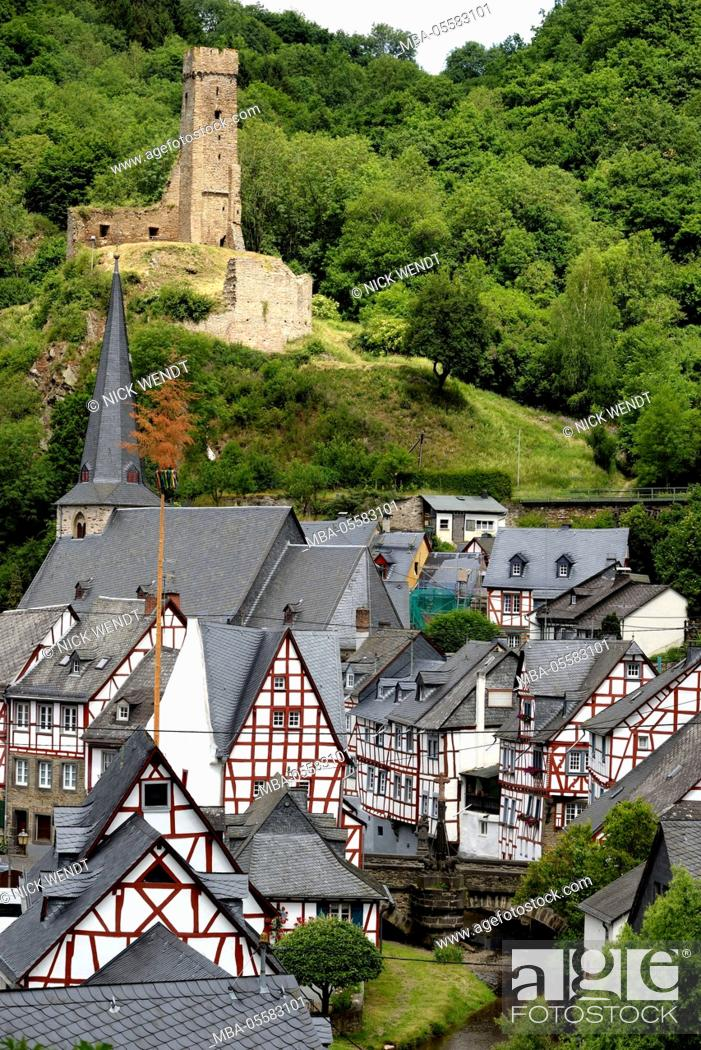 Stock Photo: old half-timbered houses in Monreal at the Eifel.