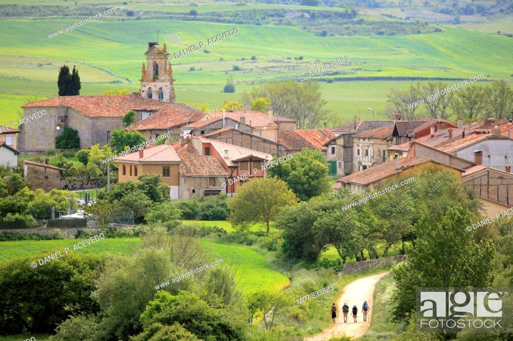 Stock Photo: Camino de Santiago, Santigo route trough Ages village, Burgos, Castilla, Spain.
