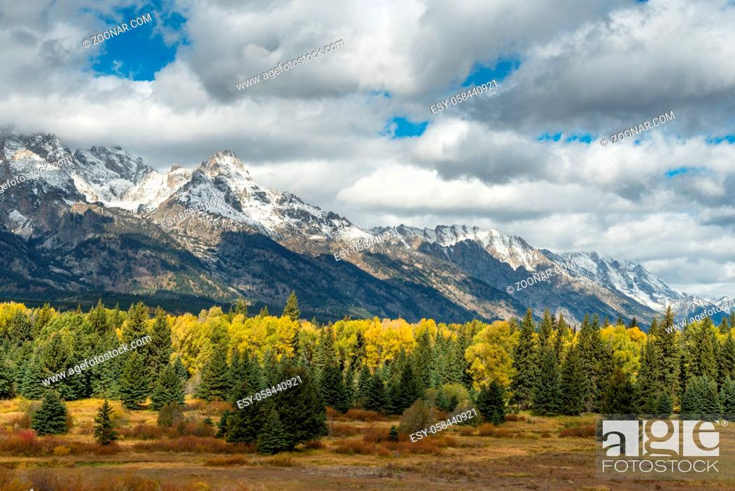 Stock Photo: Scenic view of the Grand Teton National Park.