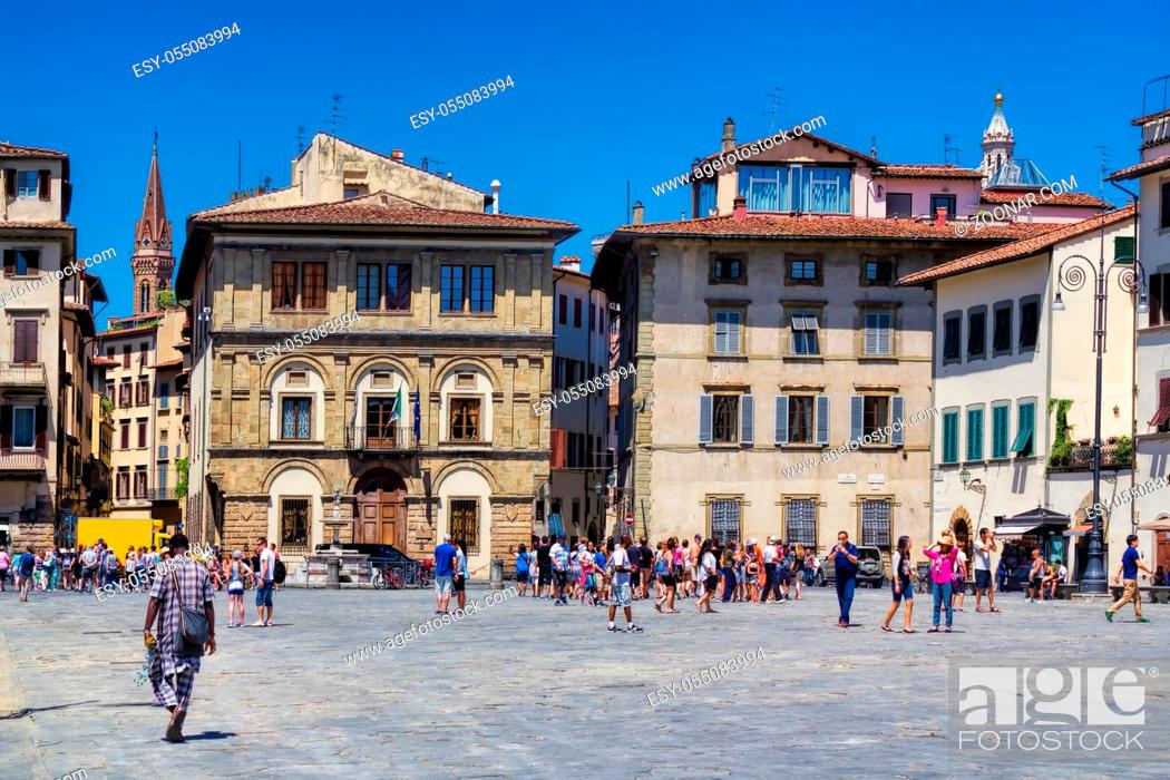 Stock Photo: City, Tourism, House, Retro, Italy, Tourist, Place, Tower, Italian, Panorama, Touristic, Square, Old Town, Crowd, Tuscany, Platz, Piazza, Steeple, Santa, Florence, Turm, Altstadt, Alte, Hauser, Stadtpanorama, Croce, Santa Croce, Florenz, Platze, Piazza Santa Croce