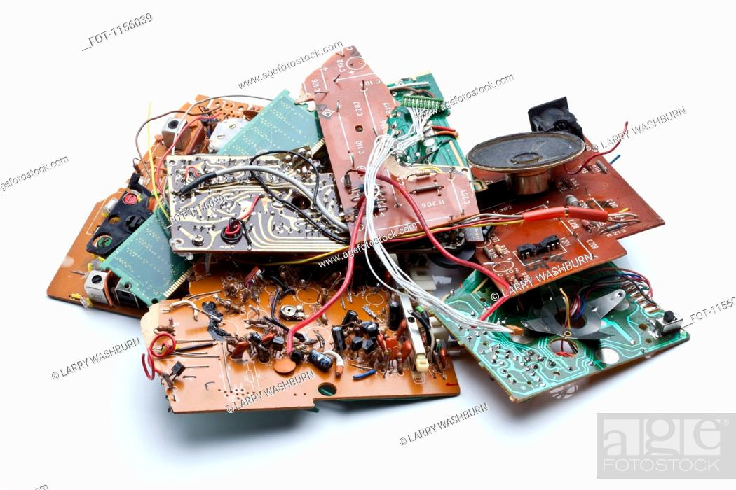 Stock Photo: A heap of trashed computer parts.