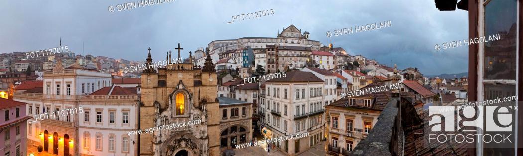 Stock Photo: Santa Cruz Monastery and surrounding cityscape in Coimbra, Portugal.