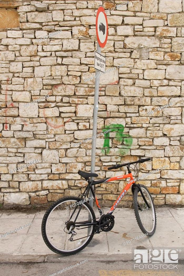 Stock Photo: Bicycle, Brick Wall, Day, Information Board, Information Sign.