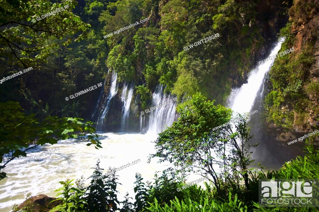 Stock Photo: Waterfall in a forest, Tzararacua Waterfall, Uruapan, Michoacan State, Mexico.