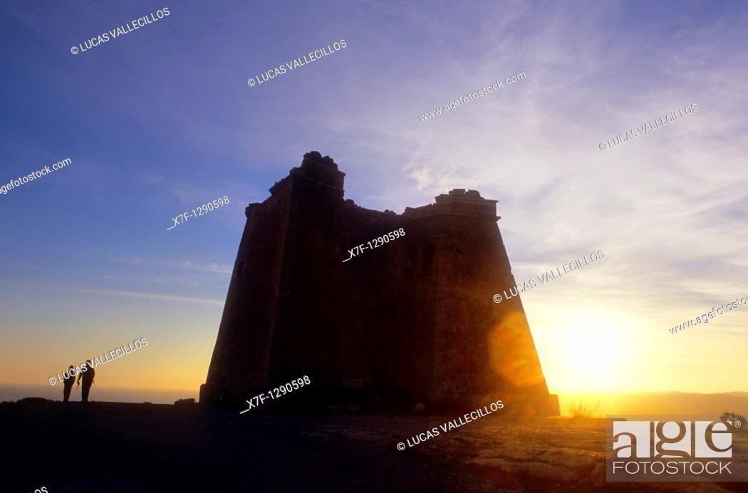 Stock Photo: Tower of Mesa Roldan, Carboneras, Cabo de Gata-Nijar Natural Park, Almeria province, Andalucia, Spain.