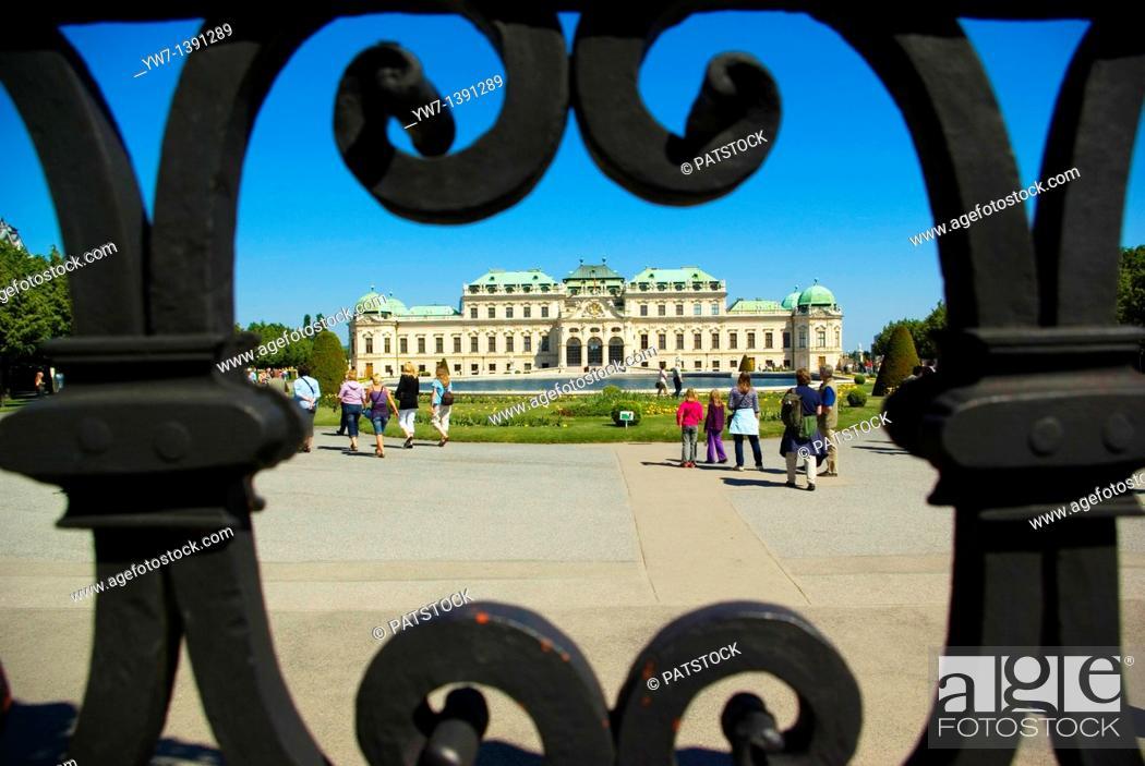 Stock Photo: Belvedere Palace museum of art view through the gate in Vienna, Austria.