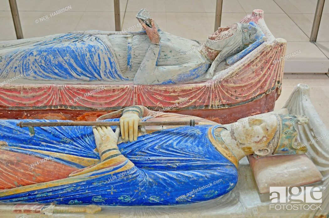 Stock Photo: The tombs of King Henry II and Queen Eleanor of Aquitaine in Fontevraud Abbey.