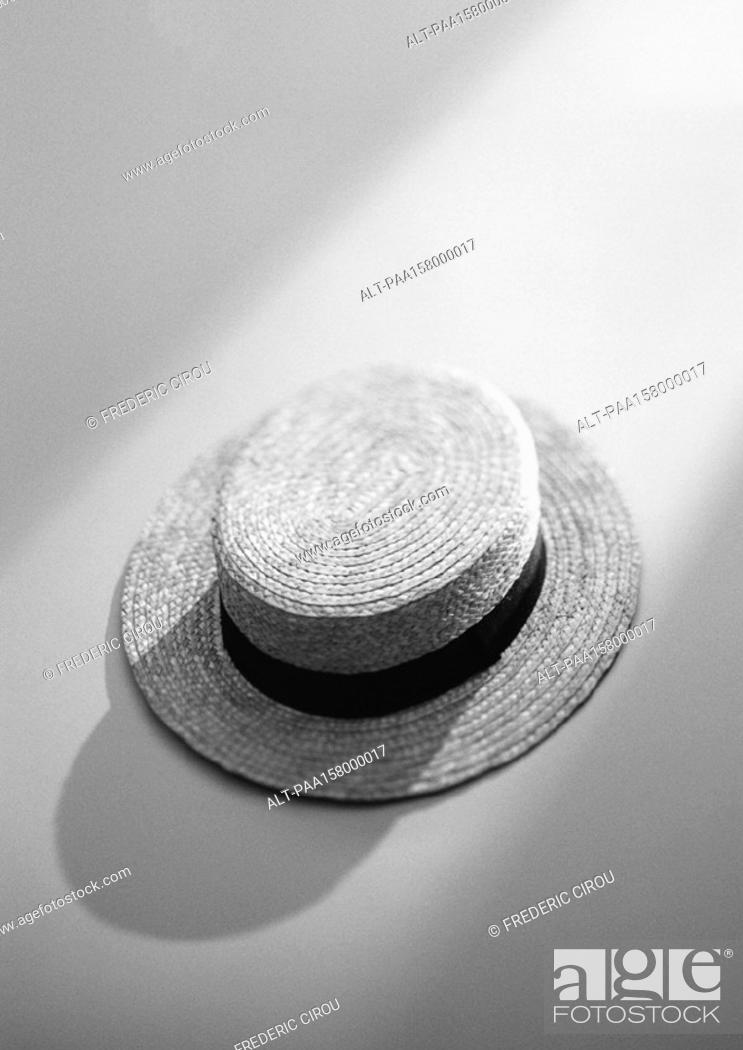 Stock Photo: Straw hat, elevated view, b&w.