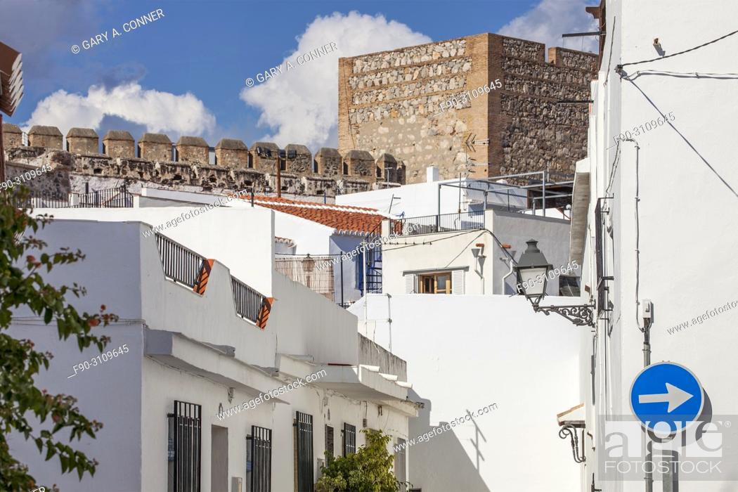 Stock Photo: Typical stree view with castle walls in Salobreña, Granada, Spain.