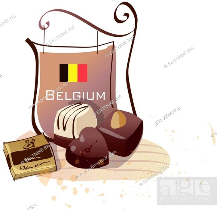 Stock Photo: Chocolates with a signboard of Belgian flag.