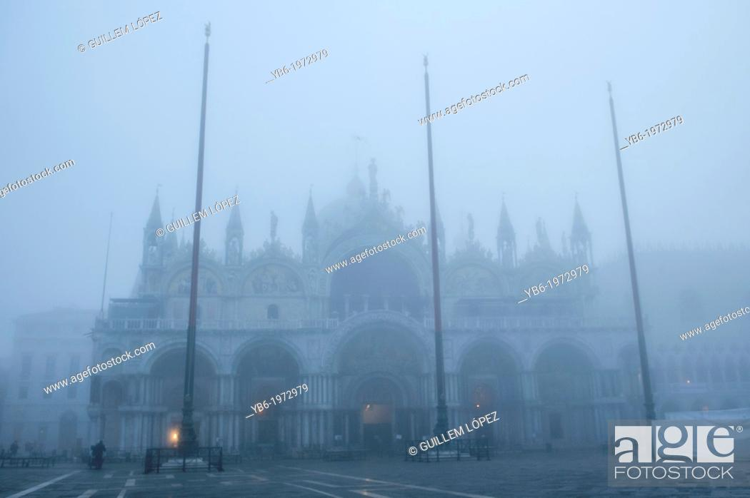 Stock Photo: St. Mark's Basilica and Square covered with thick fog. Venice, Italy.