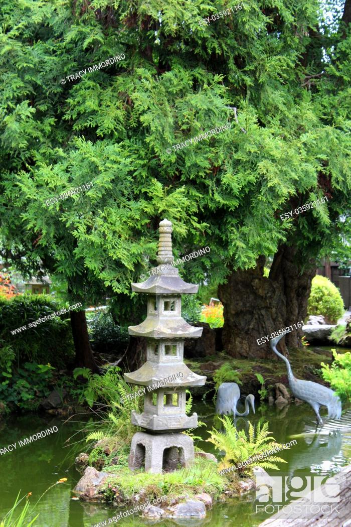 Stock Photo: A landscaped Japanese garden with a Japanese stone lantern and bird statues in a pond in California, USA.