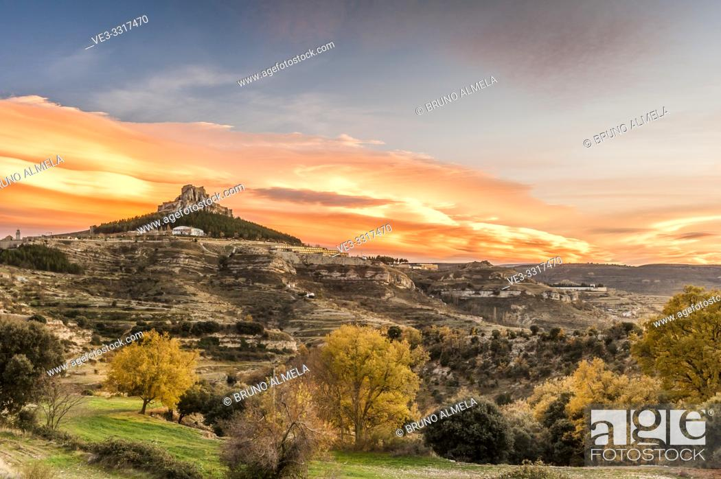 Stock Photo: Sunset over medieval town Morella (Province of Castellon, Region of Valencia, Spain).
