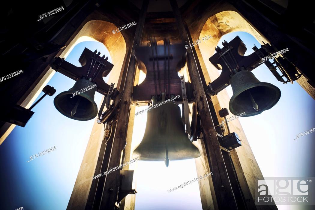 Stock Photo: Bell tower of a Church. Santa Maria, Mahon, Baleares, Spain, Europe.