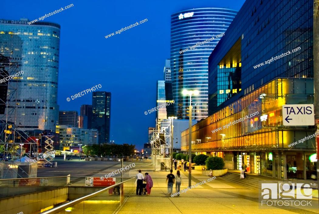 Stock Photo: Paris, France- Commercial Architecture, La Defense Business Center, Street Scene Lit up at Night.