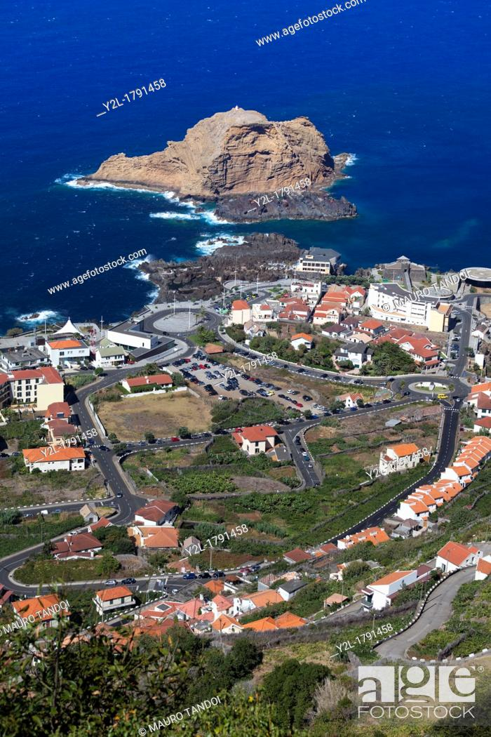 Stock Photo: View of Porto Moniz from above, Madeira, Portugal.