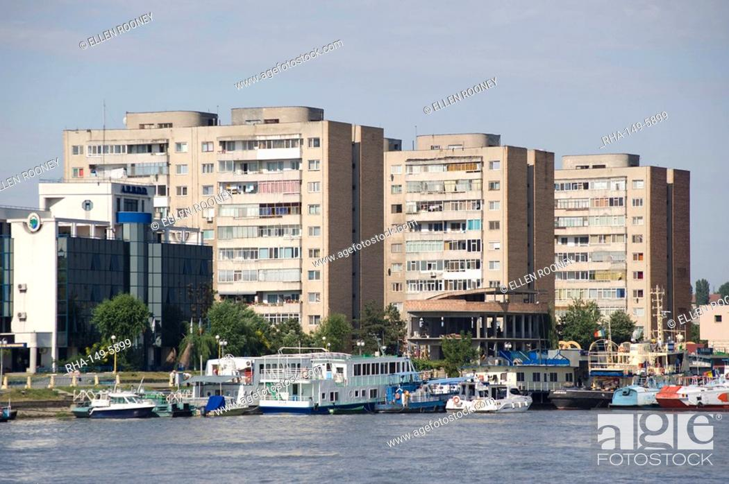 Stock Photo: High rise apartment buildings, Tulcea, Romania, Europe.