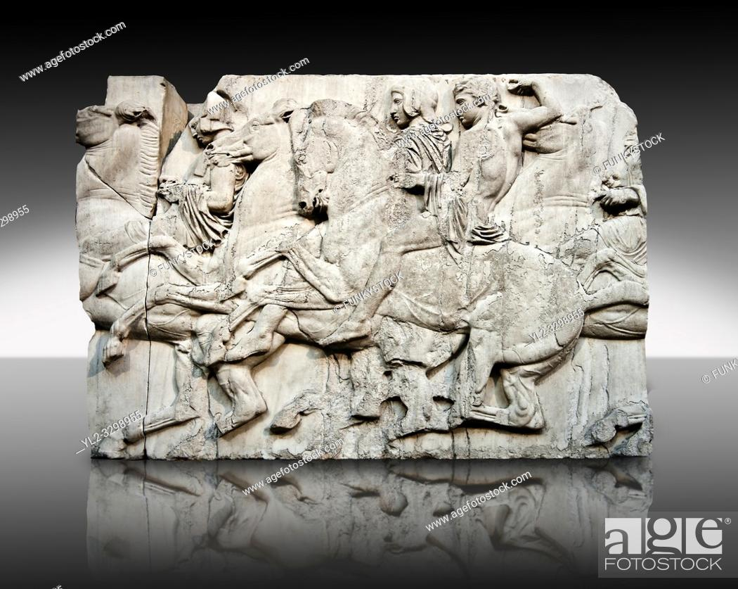 Stock Photo: Marble Releif Sculptures from the north frieze around the Parthenon Block XLIII 118-120. From the Parthenon of the Acropolis Athens.
